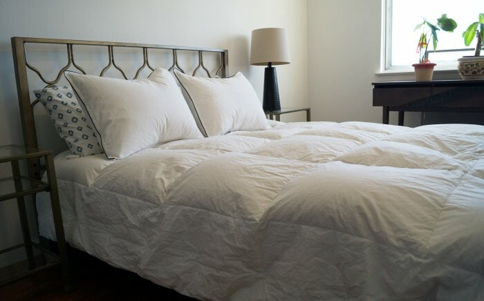 lunesse goose down comforter on bed